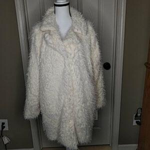 NEW Candies Cream 3/4 Lgth Faux Fur Coat Jacket XL